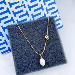 Tory Burch Simple Pearl Pendant Logo Necklace